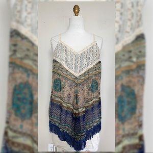 Tops - Printed Boho Tank - Crochet & Fringe Detail NWT